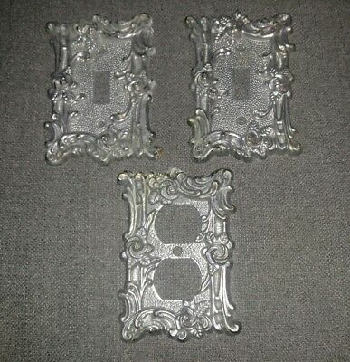 (3) Vintage Metal Light Switch Outlet Plate Cover Rose Silver 1967 Amer. Tack
