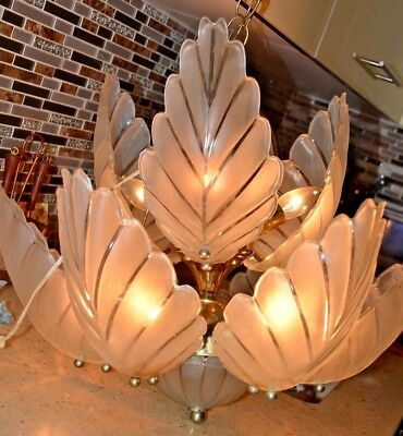 Art Deco  9 Arm Light Slip Shade  Chandelier Hanging Lamp Antique