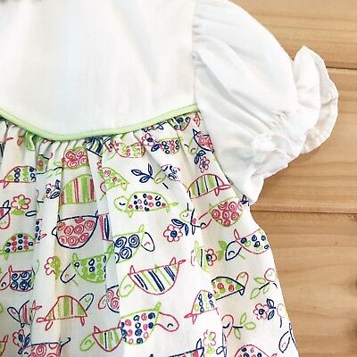 Vintage 18m Dress 50s 60s Girls White Turtle Novelty Print Colorful Flowers