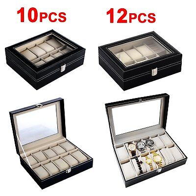 Faux Black Leather Mens Ladies Watches Case Watch Storage Box Display case