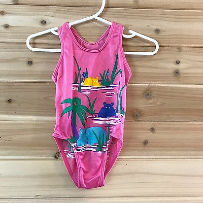 Vintage Pink Danskin Hippo One Piece Swimsuit 12-18m Tropical Palm Trees B11