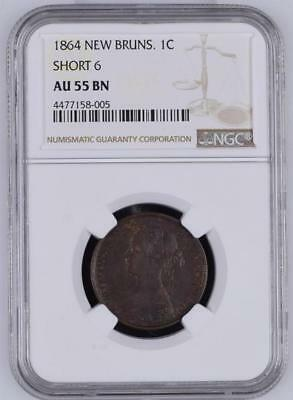 1864 New Brunswick one cent, short 6, NGC AU55 BN