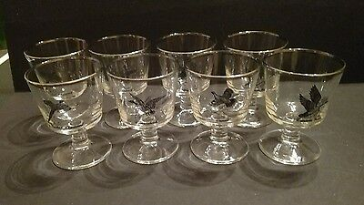 Set of 8 Vintage Richard Bishop Wild Bird Silver Rimmed Goblets Glasses