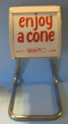 VINTAGE ENJOY A CONE ICE CREAM HOLDER DISPENSER EAT-IT-ALL metal EUC