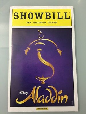 Aladdin The Musical Playbill Broadway 2016 Disney White Boarder New York City Ny