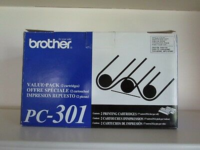 2 Pack Genuine Brother PC-301  Film Ribbon Cartridge