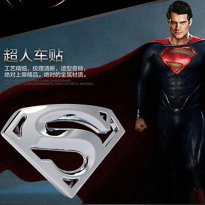 1 Pcs Silver Superman Logo 3D Metal Auto Car Emblem Badge Bonnet Sticker Decal
