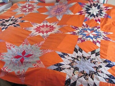 "VIBRANT FEEDSACKS LONE STAR QUILT TOP c1930-40 H-Pc'd MASTERPIECE 88""x80"""