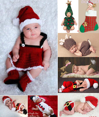 Christmas Series Newborn Baby Crochet Knit Costume Photography Prop Outfit