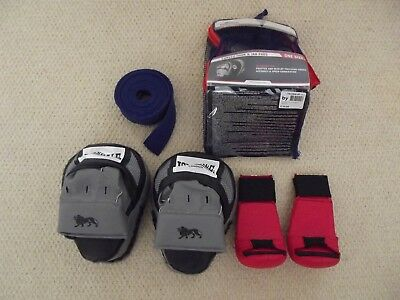 Bundle of Lonsdale curved hook and Jab pads, Blitz boxing gloves and blue belt