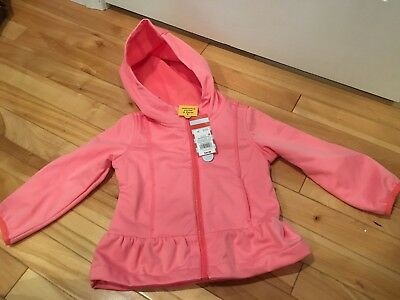 Girls Wind & Water Resistant Pink Hooded Lined Jacket, Sz 2T - NEW