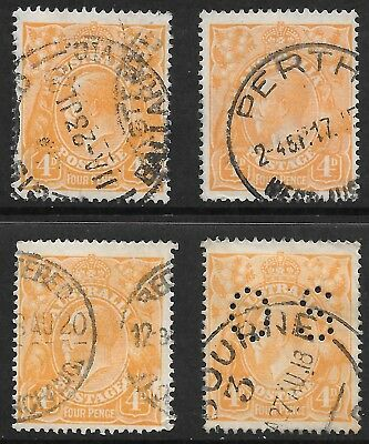 KGV    4d  ORANGE  S.WMK  4 STAMPS  LOOK LIKE TIN SHED FLAWS