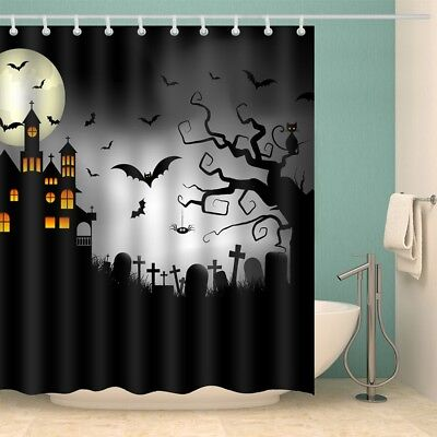 Halloween Castle Cemetery Print Waterproof Fabric Shower Curtain W59* L71 INCH