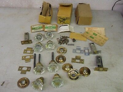 Vintage Lot Tegco Dexter Glass Door Knobs Brass Finish Boxes & Extras