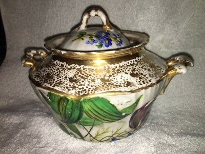 Russian Kornilov brothers 19th Century Porcelain LARGE covered Sugar Bowl