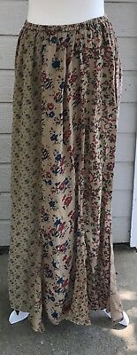Sacred Threads Multi Floral Print Paneled Maxi Skirt Large Womens Boho Trendy