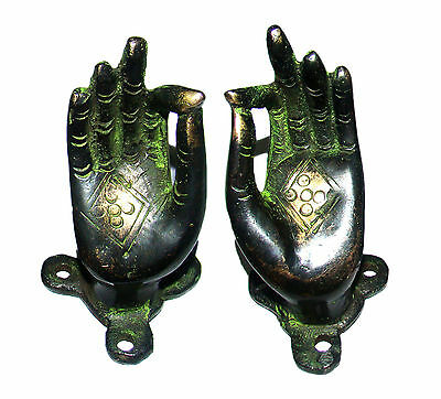 A PAIR attractive brass made DOOR HANDLES 'BEAUTIFUL HANDS' BUDDHA PALM India #2