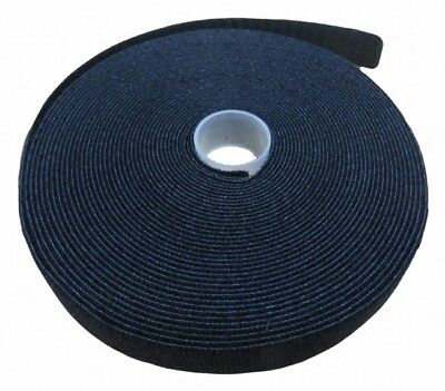 19mm x 10m roll double sided hook and loop velcro grip tie (black)