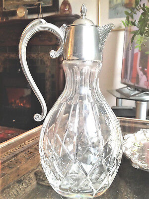 Large Vintage Claret Jug, Cut Glass and Silver Plate 12.1/2in / 32cm, nr Perfect