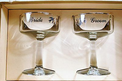 Vintage Traditional CUTLER Bride and Groom Champagne Glasses Platinum MINT!