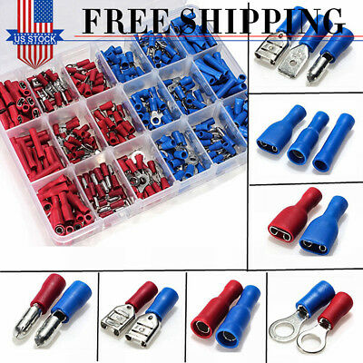 360Pcs Various Insulated Electrical Wire Terminals Connectors Crimp Spade Set