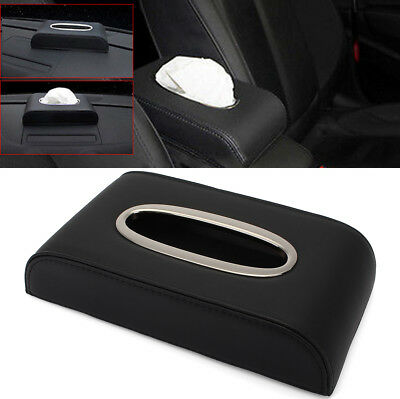 PU Black leather Car Tissue Napkin Box Cover Papers Holder Home Cafe Office Bar