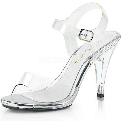 ab14bd591ad Clear Womens Pageant Wedding Prom High Heel Shoes Ankle Strap Sandals