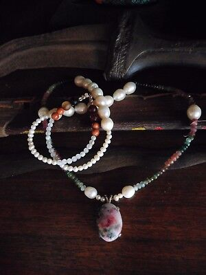 Haunted tugtupite,pearl and tourmaline necklace,paranormal,talisman,color change