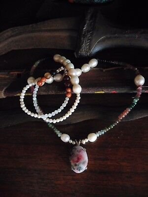 Occult tugtupite,pearl and tourmaline necklace,paranormal,haunted,color change