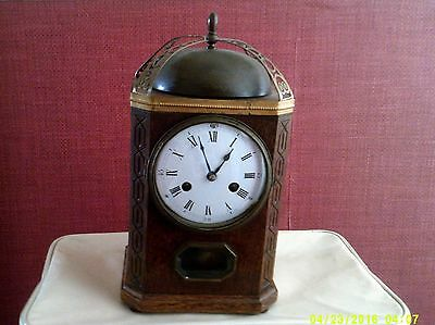 Rare Antique Ornate Hamburg American H.e Mantel Clock. Black Forest Dec.