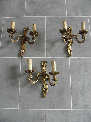 Wall Sconces lamp light Set of Three Antique Double Arm bronze antique French