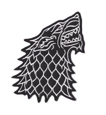 STARK BLACK WOLF IRON ON / SEW ON PATCH GAME OF THRONES Embroidered Badge PT138