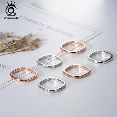 925 Silver Women CZ Wedding Square Band Ring Silver Rose Gold Size 5-9