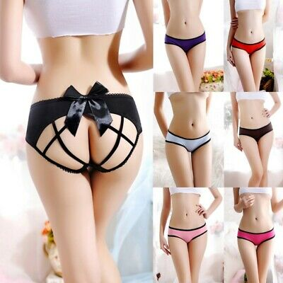 Women Sexy Crotchless Lace Panties G-string Bowknot Intimates Briefs Knickers UK