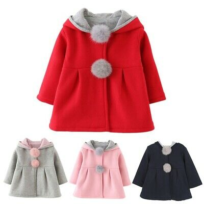 Toddler Baby Girl Woolen Coat Rabbit Bunny Ear Hooded Kids Warm Jacket Outerwear