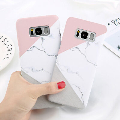Glossy Granite Marble Contrast Color Hard Phone Cover Case For Samsung S9 S8 S7