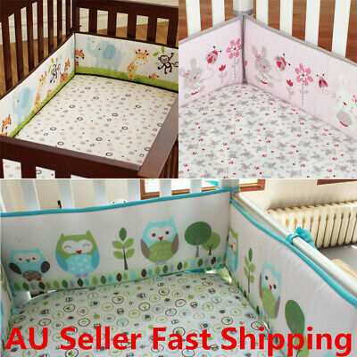 4Pcs/set Animal Baby Infant Cot Crib Bumper Toddler Nursery Safety Protector
