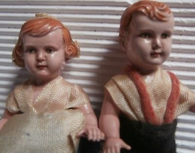 Antique ADORABLE  CELLULOID  DOLLS  with  great  character  faces