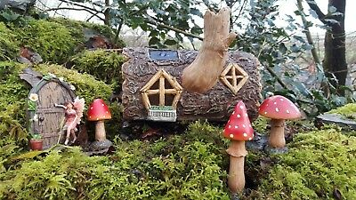 Fairy Door Garden Magical Statue Ornament Fairy Mushrooms Solar Colour Log House