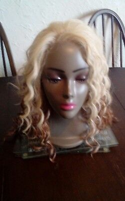 "16"" multi tobe blonde curly lace front wig by cherish"