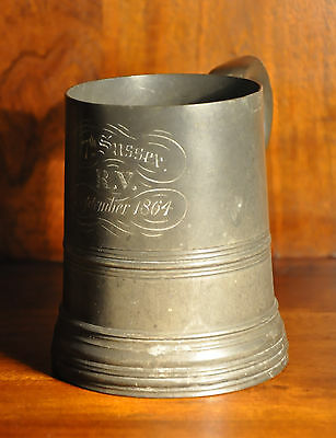 19th.C  Antique Military Powter Tankard 7th Sussex RV September 1864 (0067)