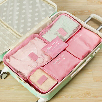 6pcs Storage Bags Packing Cube Pouch Suitcase Clothes  Travel Luggage Organizer