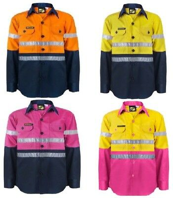 Kids Hi Vis Two Tone Long Sleeve Shirt With 3M Reflective Tape Workwear