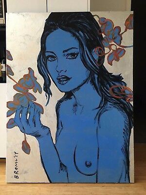 "David Bromley Original ""Lisa"" Silver Leaf Painting On Canvas 90cm x 120cm"
