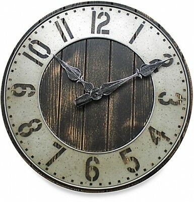 """Rustic Punched Metal Large Wall Art Clock Vintage Wood Home Decor Industrial 20"""""""