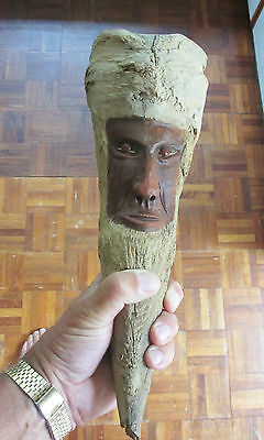 Heavy SARACENS HEAD WAR CLUB carved from a Camphor wood root - Amber Bead Eyes