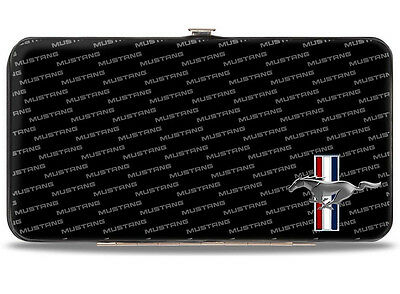 Ford Mustang logo hinged wallet tribar & text - great gift for him or her!