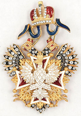 Russian Imperial Order Of The White Eagle Cross With Sw Crystals