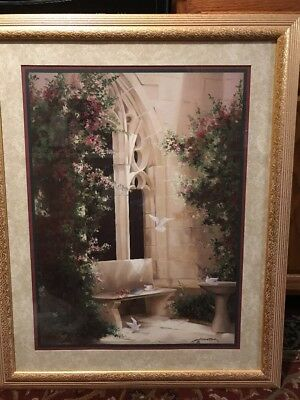 Vintage Home Interiors Birkenstock Courtyard Doves Picture Floral Excellent Cond