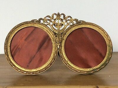 Antique French 19th Century Double Gilt Brass Quality Photograph Frame